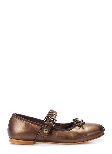 İnci Hakiki Deri Ayakkabı Bronz